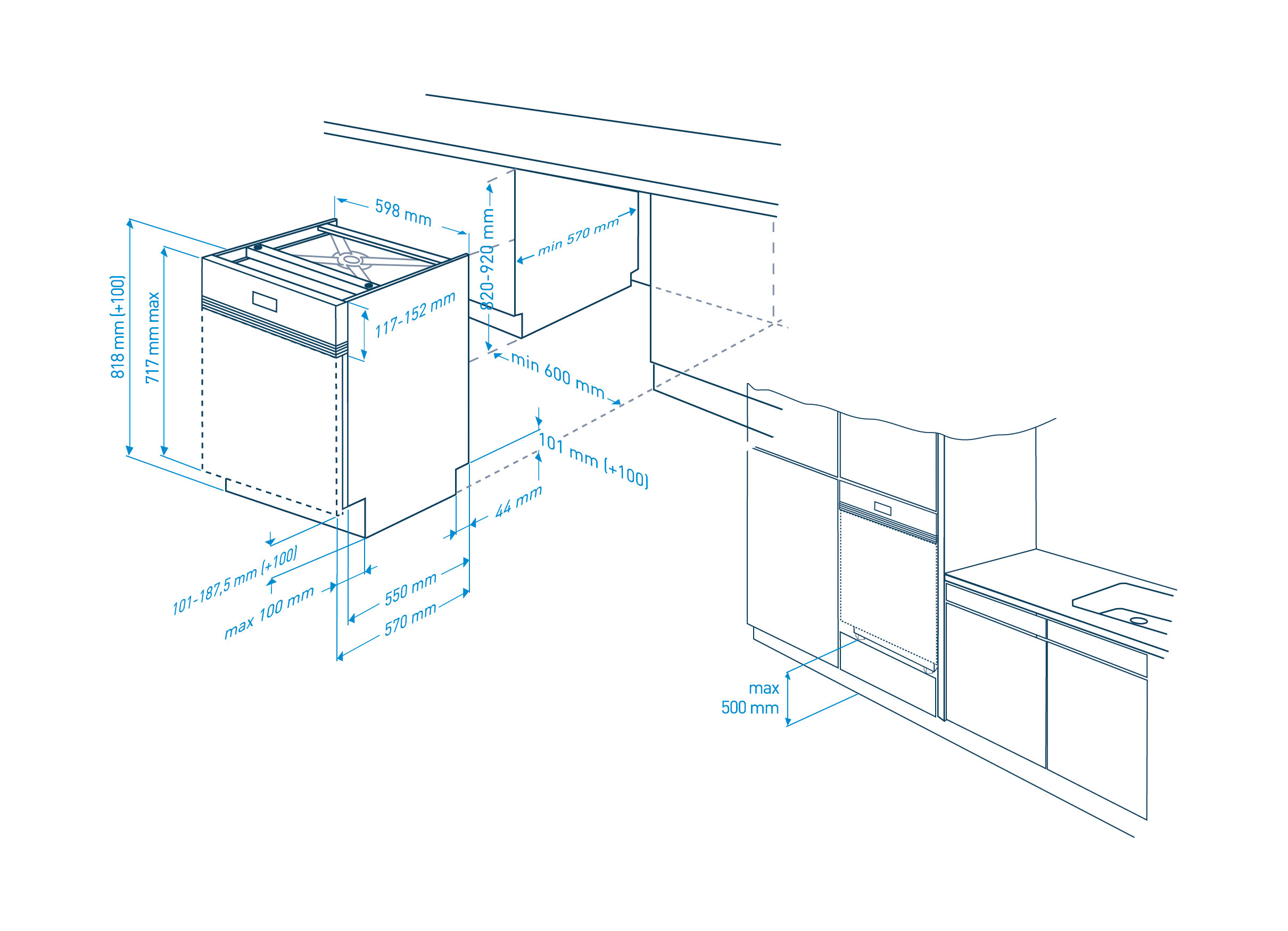 gni 11520 x teilintegrierter geschirrsp ler. Black Bedroom Furniture Sets. Home Design Ideas