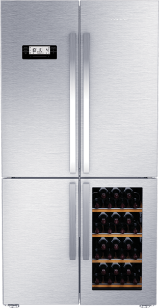 The Grundig Connoisseur 4 Door Wine Cooler Fridge - Free Standing Fridge - GWN 21210X