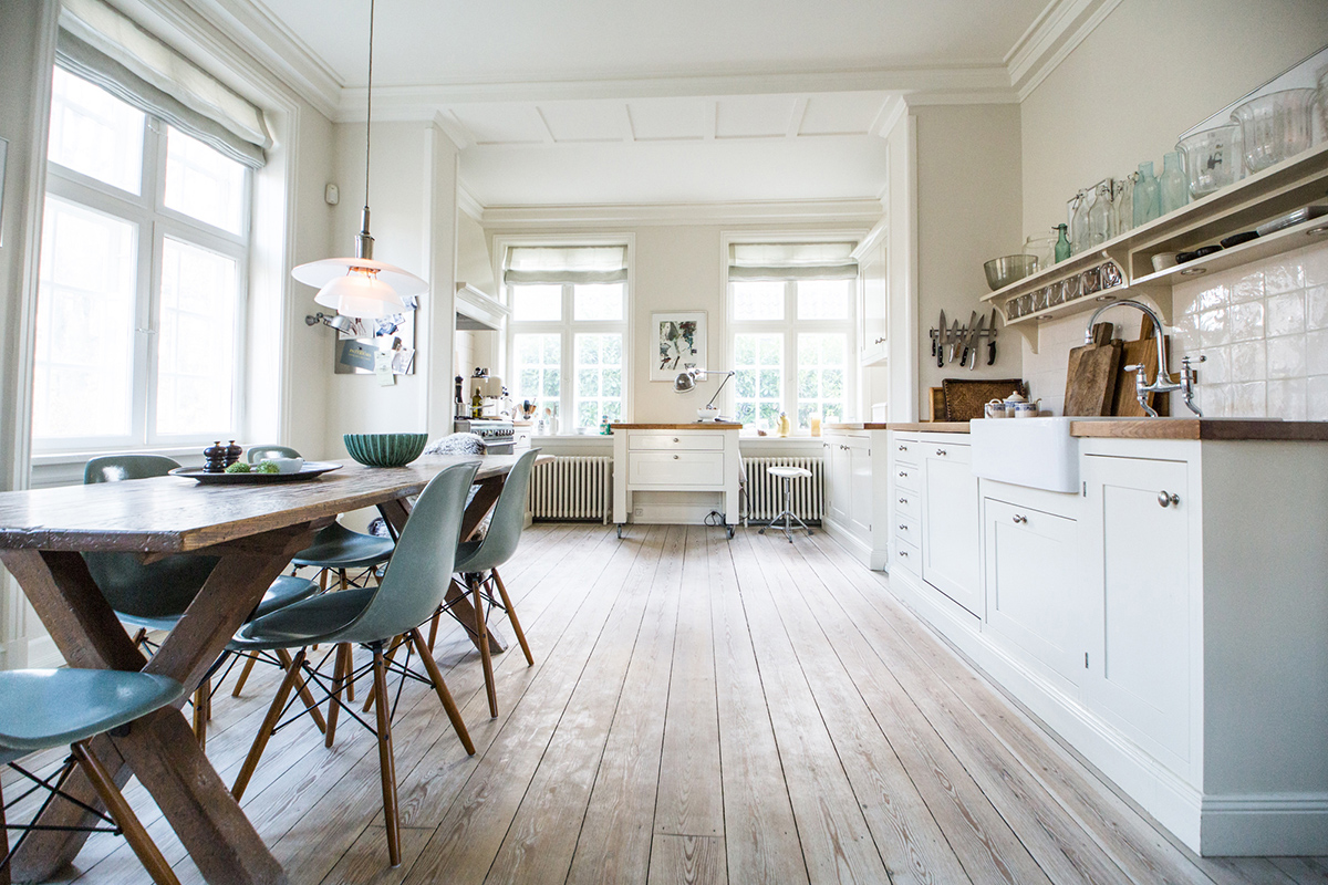 Designer, Katrine Martensen-Larsen private kitchen illuminated by natural daylight. © kmldesign.dk